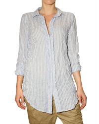 Closed | Blue Crinkled Striped Oxford Shirt | Lyst