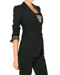 Dolce & Gabbana | Black Leopard Lining Lightweight Wool Jacket | Lyst