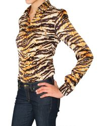 Dolce & Gabbana | Multicolor Tiger Print Stretch Satin Shirt | Lyst