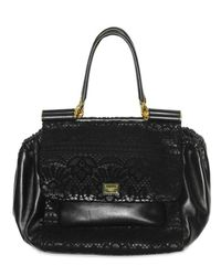 Dolce & Gabbana | Black Lace and Nappa Top Handle | Lyst