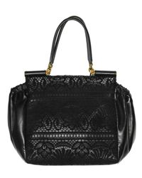 Dolce & Gabbana - Black Lace and Nappa Top Handle - Lyst