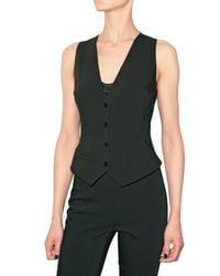 Dolce & Gabbana | Black Stretch Wool Lace Back Vest | Lyst