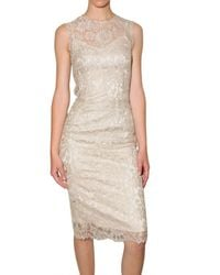 Dolce & Gabbana | Metallic Satin and Lace Dress | Lyst