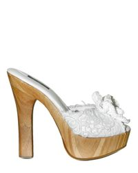 Dolce & Gabbana - White 140mm Rafia and Macrame Flower Sandals - Lyst