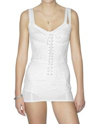 Dolce & Gabbana | White Linen Canvas Lace Bustier Dress | Lyst