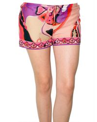 Emilio Pucci | Multicolor Orchidee Print Voile Shorts | Lyst