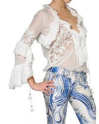 Emilio Pucci - White Embroidered Voile Ruffle Shirt - Lyst