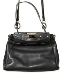 Fendi | Black Peek A Boo Mini Top Handle | Lyst