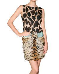 Giambattista Valli | Multicolor Linen and Chiffon Animalier Dress | Lyst