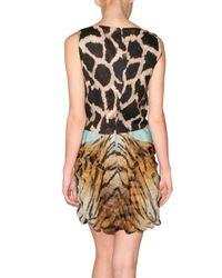 Giambattista Valli - Multicolor Linen and Chiffon Animalier Dress - Lyst