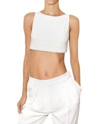 Hakaan | White Cropped Leather Tank Top | Lyst