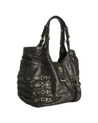 Jimmy Choo | Black Gunmetal Perforated Metallic Leather Bree Large Shoulder Bag | Lyst