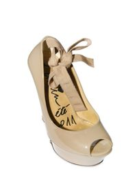 Lanvin - Natural 105mm Patent Wooden Wedges - Lyst