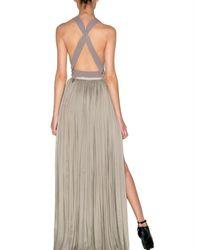 Lanvin - Gray Pleated Silk Maxi Skirt - Lyst