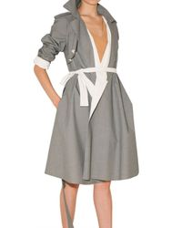 Lanvin | Gray Reversible Cotton Cloth Trench Coat | Lyst