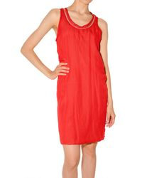 Lanvin | Orange Chiffon On Jersey Tank Dress | Lyst