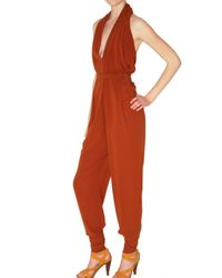 Lanvin | Brown Stretch Silk Crepe Jumpsuit | Lyst