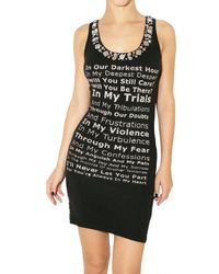 Philipp Plein | Black Printed Crystal Jersey Tank Dress | Lyst