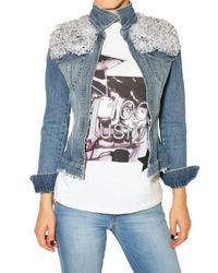Philipp Plein | Blue Crystal Shoulder Denim Jacket | Lyst