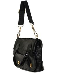 Proenza Schouler | Black Lizard Mesh Folded Top Handle | Lyst