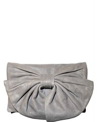 RED Valentino - Gray Bow Clutch - Lyst
