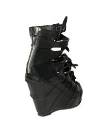 Rick Owens - Black 100mm Boxer Calf Multi Knot Bootie Wedge - Lyst