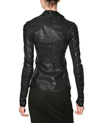 Rick Owens - Black Cowl Neck Smooth Leather Jacket - Lyst