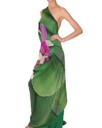 Roberto Cavalli - Green Long Orchid Print Chiffon Dress - Lyst