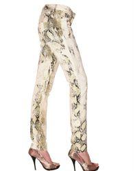 Roberto Cavalli | Natural Python Print Denim Jeans | Lyst