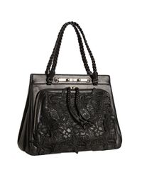 Valentino | Black Leather Floral Etched Handbag | Lyst