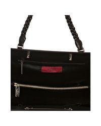 Valentino - Black Leather Floral Etched Handbag - Lyst