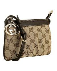 Gucci | Dark Brown Gg Canvas Leather Detail Mini Bag | Lyst