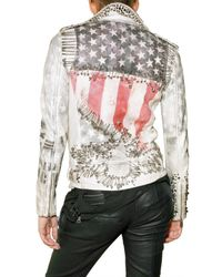 Balmain - White Studded Flag Jacket - Lyst