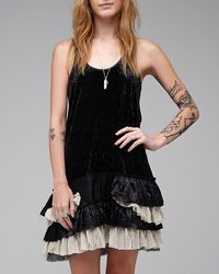 Free People | Black Merries Crushed Velvet | Lyst