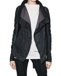 Rick Owens | Blue Stretch Denim Leather Sleeve Jacket | Lyst