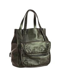 Bottega Veneta | Iridescent Green Leather Multi-pocket Tote | Lyst