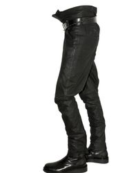 Ann Demeulemeester - Black Wrapped Vintaged Leather Trousers for Men - Lyst