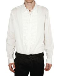 Ann Demeulemeester | White Pleated Plastron Popeline Shirt for Men | Lyst