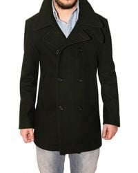 Aquascutum | Black Wool Cloth Pea Coat for Men | Lyst