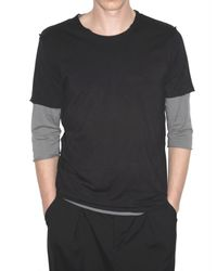 Attachment | Black Raw Cut Double Layer Jersey T-shirt for Men | Lyst