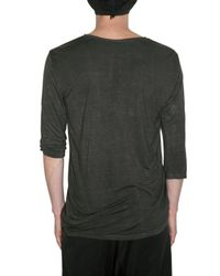 Attachment - Gray 3/4 Sleeved Rayon Jersey T-shirt for Men - Lyst