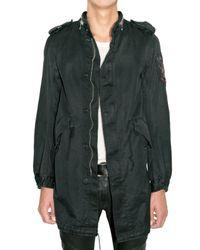 Balmain | Black Long Parka Light Gabardine Coat for Men | Lyst