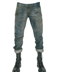 Balmain | Blue Dirty Denim Cropped Biker Jeans for Men | Lyst