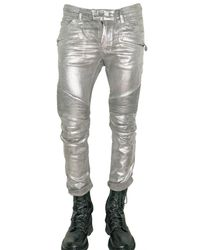 Balmain | Metallic Stretch Denim Cropped Biker Jeans for Men | Lyst