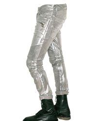 Balmain - Metallic Stretch Denim Cropped Biker Jeans for Men - Lyst