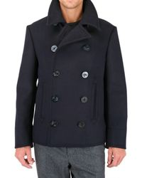 Black Fleece By Brooks Brothers | Blue Wool Melton Pea Coat for Men | Lyst
