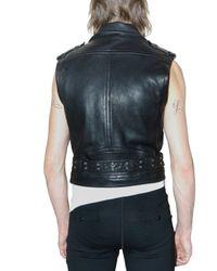 Burberry Prorsum - Black Sleeveless Cropped Biker Leather Jacket for Men - Lyst