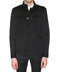Burberry Prorsum | Blue Compact Wool Jersey Military Jacket for Men | Lyst