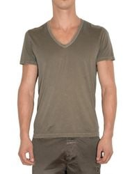 Closed | Green V-neck Washed Jersey T-shirt for Men | Lyst
