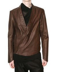 Damir Doma | Brown Fitted Kimono Style Leather Jacket for Men | Lyst